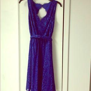 Eliza J blue lace belted dress